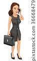 3D Businesswoman talking on mobile phone 36668479