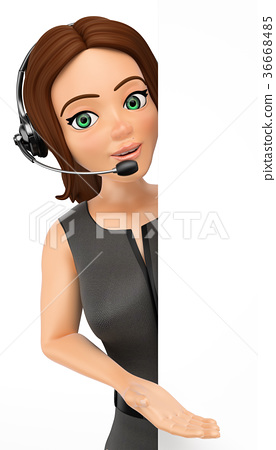 3D Call center operator pointing aside 36668485