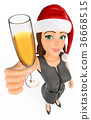 3D Businesswoman toasting with champagne glass 36668515