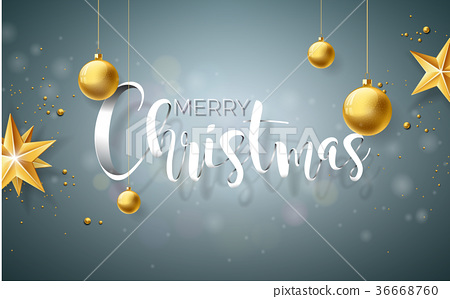 Merry Christmas Illustration on Grey Background 36668760