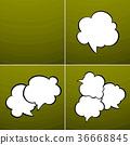 Set of Speech Bubbles on Green Background 36668845