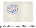Passport pages with Welcome to Los Angeles stamp 36669867
