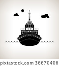 Silhouette of Push Boat 36670406