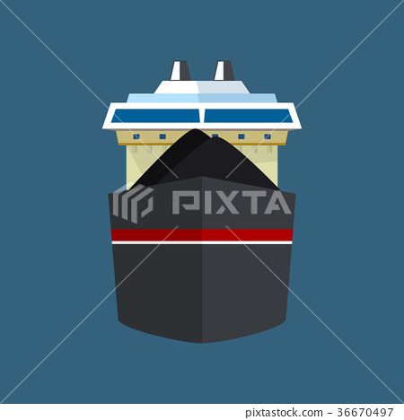 Front View of Dry Cargo Ship 36670497