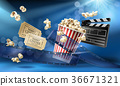 Cinema background with 3d realistic objects 36671321