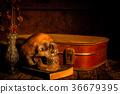 Still life with human skull with treasure chest  36679395