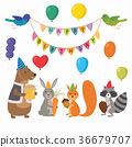 Cute cartoon forest animals illustration for 36679707