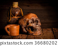 Still Life with skull and glass on wooden  36680202