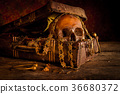 Still life with human skull with treasure chest  36680372