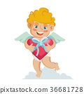 Cupid Vector. Happy Valentine s Day. Holding A Box 36681728