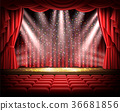 Red curtain and empty theatrical scene 36681856