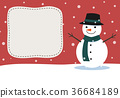 Snowman with space for add text. Christmas card. 36684189