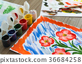 colored gouache and children's pattern 36684258