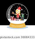 Snow globe with a Santa woman. 36684333
