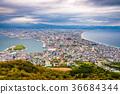 Hakodate, Hokkaido, Japan autumn skyline. 36684344