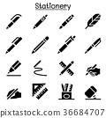 Pen, Pencil, Stationery icon set 36684707