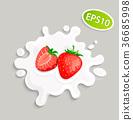 milk, strawberry, splash 36685998