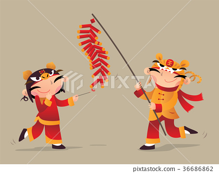 Two Chinese Kids Playing Firecrackers Stock Illustration