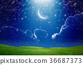 Crescent moon in starry sky 36687373