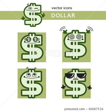 Dollar sign with funny cartoon face, icon set  - Stock