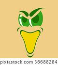 flat icons on theme Cartoon face funny emotion 36688284