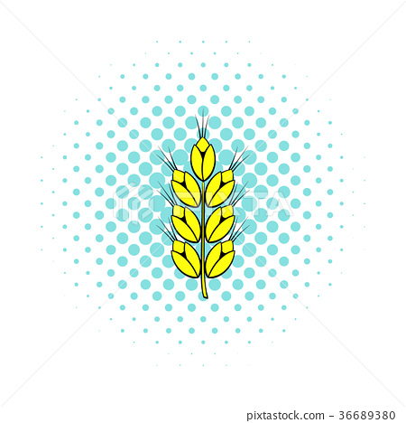 Ear of of wheat icon, comics style  36689380