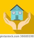 house, hand, flat 36689398