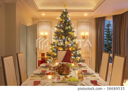3d illustration of a Christmas family dinner table 36689535