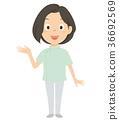 간병인 개호 복지사 여성 일러스트 36692569