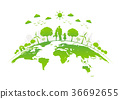 Eco friendly with green city on earth 36692655