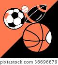 Vector bright poster different sport balls  36696679