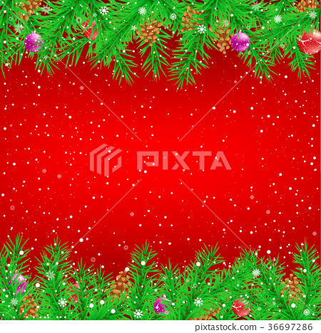 Spruce branch red Christmas background 36697286