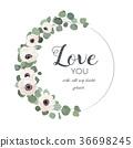 Vector floral card White Anemone flower eucalyptus 36698245