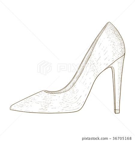 Woman shoes. High heel. Hand drawn sketch 36705168
