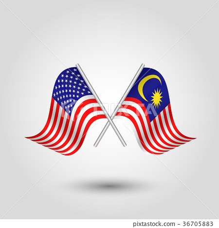 vector two crossed american and malaysian flags 36705883
