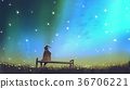 young woman sitting on a bench against the sky 36706221