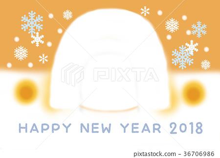 new year's card, kamakura, snowy 36706986