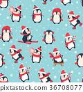 penguin, illustration, pattern 36708077