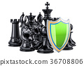 Chess figures with shield. Security and protect 36708806