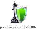 Chess King with shield. Protect and insurance 36708807