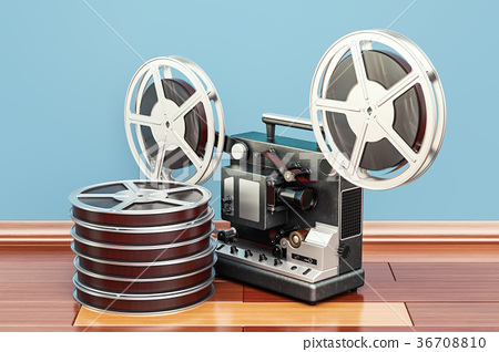 cinema projector with movie reels on the floor 36708810