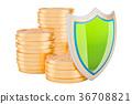Financial insurance concept. Golden coins 36708821