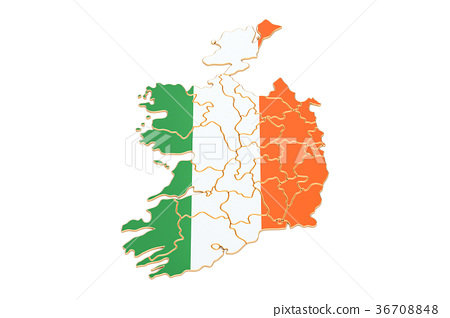 Map Of Ireland 3d.Map Of Ireland 3d Rendering Stock Illustration 36708848 Pixta