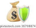 Money bag with shield. Financial insurance 36708874