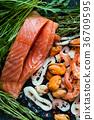 seafood,salmon,assortment 36709595