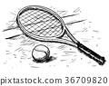 Tennis Racket and Ball Vector Hand Drawing 36709820
