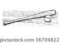 Baseball Bat and Ball Vector Hand Drawing 36709822