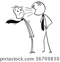 Vector Cartoon of Boss Yelling at Office Worker 36709830