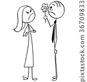 Angry Woman and Man Giving her Flower on Date 36709833