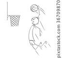 Vector Cartoon of Basketball Player Scoring Goal 36709870